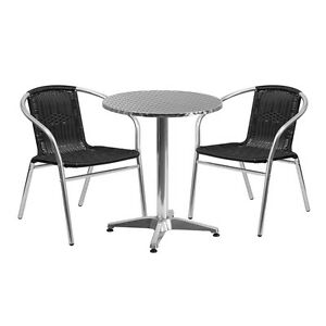 23 5 Round Aluminum Indoor outdoor Restaurant Table With 2 Black Rattan Chairs