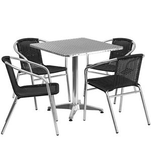 27 5 square Aluminum Indoor outdoor Restaurant Table With 4 Black Rattan Chairs