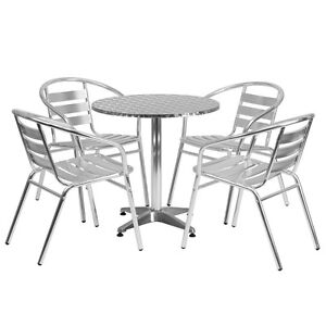 27 5 Round Aluminum Indoor outdoor Restaurant Table With 4 Slat Back Chairs