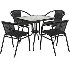 28 Sqaure Indoor outdoor Restaurant Table Set With 4 Black Rattan Chairs