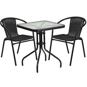 23 75 Square Indoor outdoor Restaurant Table Set With 2 Black Rattan Chairs