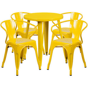 24 Round Yellow Metal Indoor outdoor Restaurant Table Set With 4 Arm Chairs