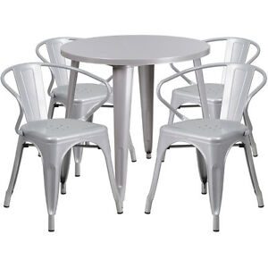 30 Round Silver Metal Indoor outdoor Restaurant Table Set With 4 Arm Chairs