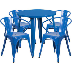 30 Round Blue Metal Indoor outdoor Restaurant Table Set With 4 Arm Chairs