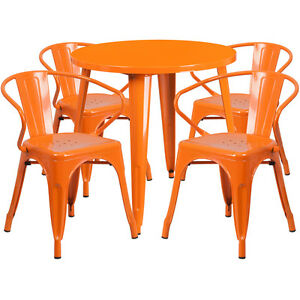 30 Round Orange Metal Indoor outdoor Restaurant Table Set With 4 Arm Chairs