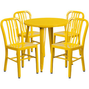 30 Round Yellow Metal Indoor outdoor Restaurant Table Set W 4 Slat Back Chairs