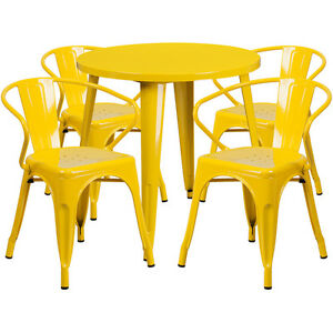 30 Round Yellow Metal Indoor outdoor Restaurant Table Set With 4 Arm Chairs