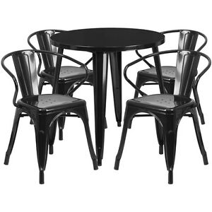 30 Round Black Metal Indoor outdoor Restaurant Table Set With 4 Arm Chairs