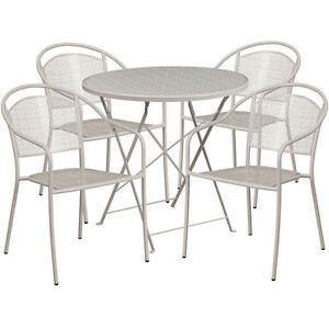 30 Round Gray Indoor outdoor Folding Patio Restaurant Table Set With 4 Chair