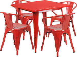 31 5 Industrial Red Metal Indoor outdoor Restaurant Table Set W 4 Arm Chairs