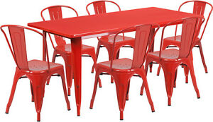 31 5 X 63 Industrial Red Metal Outdoor Restaurant Table Set With 6 Chairs