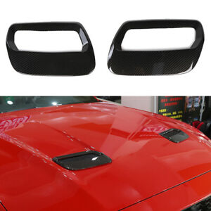 Front Hood Air Vent Molding Cover Trim For Ford Mustang 2018 Carbon Fiber