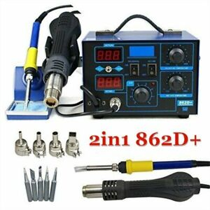 862d 2 In1 Smd Soldering Iron Hot Air Rework Station Desoldering Repair 110v Wn