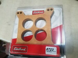 Edelbrock 8723 Carburetor Spacer Tan Wood Fiber Laminate Four Hole New