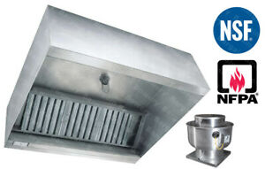 4 Ft Restaurant Commercial Kitchen Exhaust Hood With Captiveaire Fan 1000 Cfm