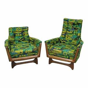 Pair Of Mid Century Modern Adrian Pearsall Style His Her Lounge Chairs