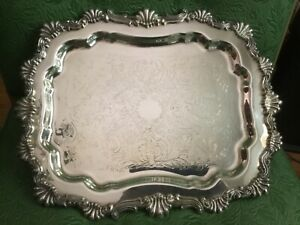 Fb Rogers Silver Footed Buffet Tray Butler Cocktail Serving Platter 14x11 6720
