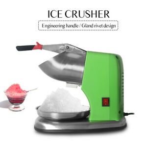 Commercial Electric Shaved Ice Machine Ice Crusher Snow Cone Double Blade Green
