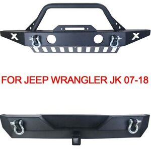 Front Rear Bumper W fog Light Hole Skid Plate Dring Fits 07 18 Jeep Wrangler Jk