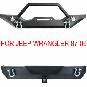 Front Rear Bumper W led Lights Hitch Receiver For 87 06 Jeep Wrangler Tj Yj
