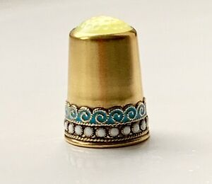 David Andersen Gilt Sterling Silver Thimble Enamel
