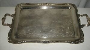 Large Heavy Silver Plate Footed Tray Wm Rogers 291 27