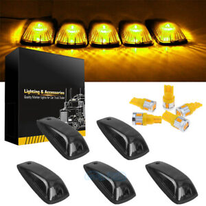 5 Cab Marker Roof Light Smoke Cover Amber T10 Led For Gmc Chevy C K 1500 3500