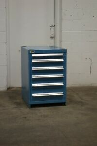 Used Vidmar 6 Drawer Cabinet 33 Inch Tall 22 Wide Industrial Tool Storage 1800