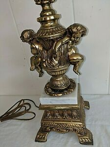 Vintage Ornate Marble Brass Cherubs Crystal Cherub Lamp Hollywood Regency