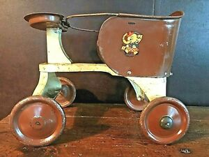 Vintage Metal Baby Stroller Walker Turner For A Doll All Metal 14 Long