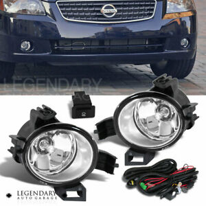 Clear Front Bumper Driving Fog Light Lamp Kit For 2005 2006 Nissan Altima Pair