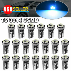 20x Ice Blue T5 Smd Led Dashboard Interior Instrument Panel Dash Lights Bulbs