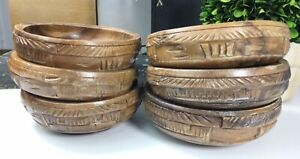 6 Vintage Ornate Hand Carved Wood Serving Bowls Rustic Farmhouse Country