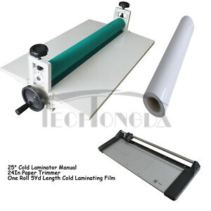 25 Laminator 24 Rotary Paper Trimmer 5yd Cold Laminating Film For Printing Kit