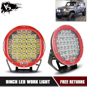 2x 9inch 185w Round Spot Cree Led Work Light Off road 4wd Jeep Bumper Lamp Red