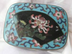 Japanese Cloisonne Small Trinket Box With Chrysanthemum Fan Design