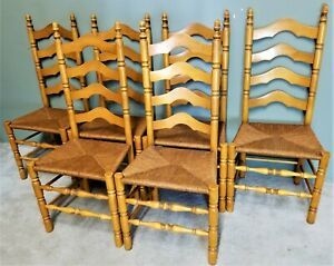 Set Of 6 Vintage Ladderback Ladder Back Rush Seat Wood Dining Chairs