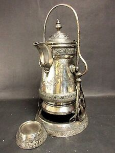 1879 Engraved Wilcox Quadruple Silver Plate Tilting Water Pitcher On Stand