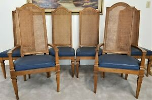 Set Of 6 Vintage Drexel Furniture Cane Back Dining Chairs With Vinyl Seats