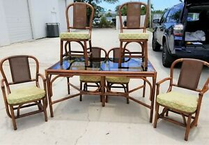 Mcm 7 Pc Vintage Clark Casual Distinctive Rattan Bentwood Bamboo Cane Dining Set