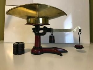 Antique Vintage Triple Toe Crowsfoot Scale W Pan And Weights