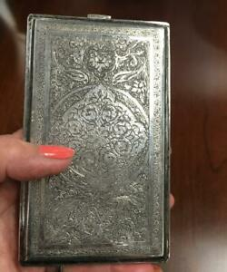 Antique Middle Eastern Persian Silver Cigarette Case Ornate Engraving