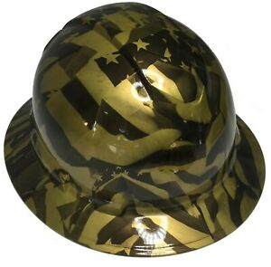 Dipped Custom Hard Hat Ridgeline Full Brim Metallic Gold Midnight American Flags