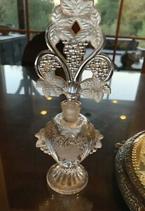 Vintage Antique Art Deco Cut Crystal Glass Perfume Bottle With Stopper