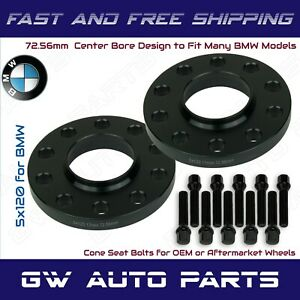 2pc Black Anodized Bmw 5x120 Wheel Spacers Kit 15mm Thick I d 72 56mm With Bolts