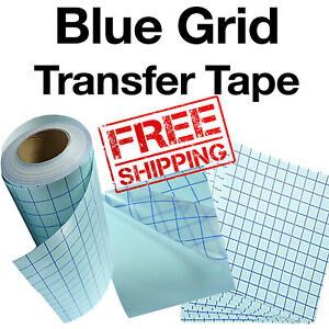 5 Sheets 12 x24 Clear Transfer Tape W blue Grid Adhesive Vinyl Craft Projects