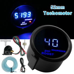 2 52mm Black Cover Car Universal Digital Blue Led Psi Turbo Boost Gauge Meter