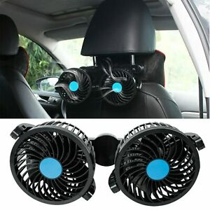 12v Dual Head Vehicle Car Headrest Rear Seat Cooling Fan 360 Rotatable Two Speed