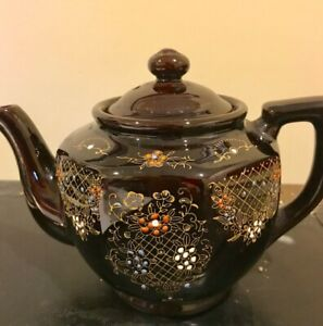 Vintage Moriage Hand Painted Ceramic Teapot Aome Japan