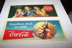 2 LOT 1944 AND 1956 Coca Cola INK BLOTTER Very Sharp Colors Advertising Vintage